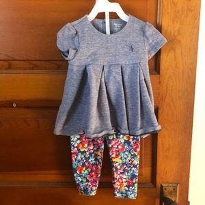 Ralph Lauren Matching Short Sleeve/ legging Set